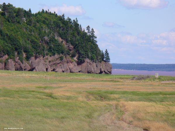 Au loin, un aperçu des rochers d'Hopewell Rocks