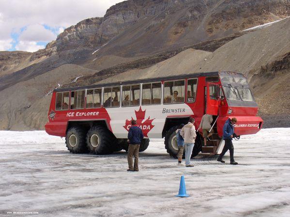 L'autobus que j'ai pris pour aller sur le champ de glace Columbia
