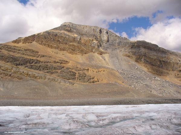 Une vue d'une montagne depuis le champ de glace Columbia