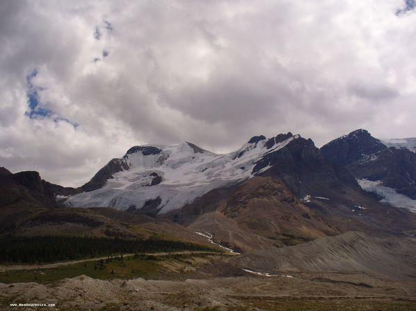 Vue du champ de glace Columbia de loin
