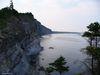Une vue sur le secter nord du parc Forillon au large du Golf du St-Laurent