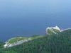 Le stationnement et le Cap-Bon-Ami depuis la tour d'observation