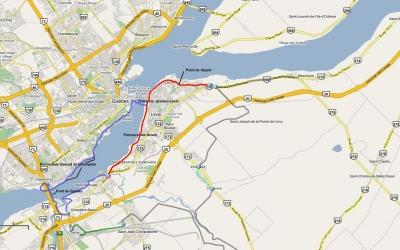 Trajet effectué à vélo à Québec et Lévis